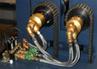 Optional water cooling is located on the drive side of the rolls. Controlled by two solenoid valves.